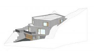 Neubau eines Wohnhauses am Hang